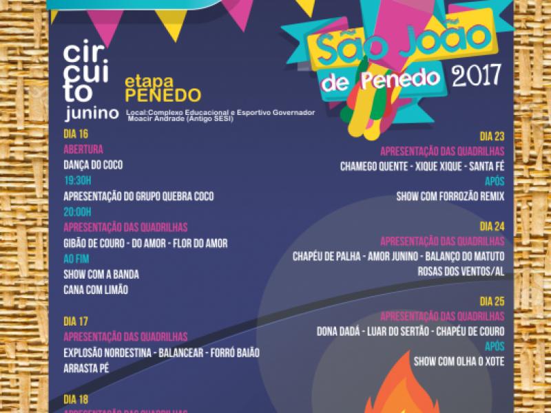 Prefeitura divulga programação oficial dos festejos juninos em Penedo; confira as atrações!