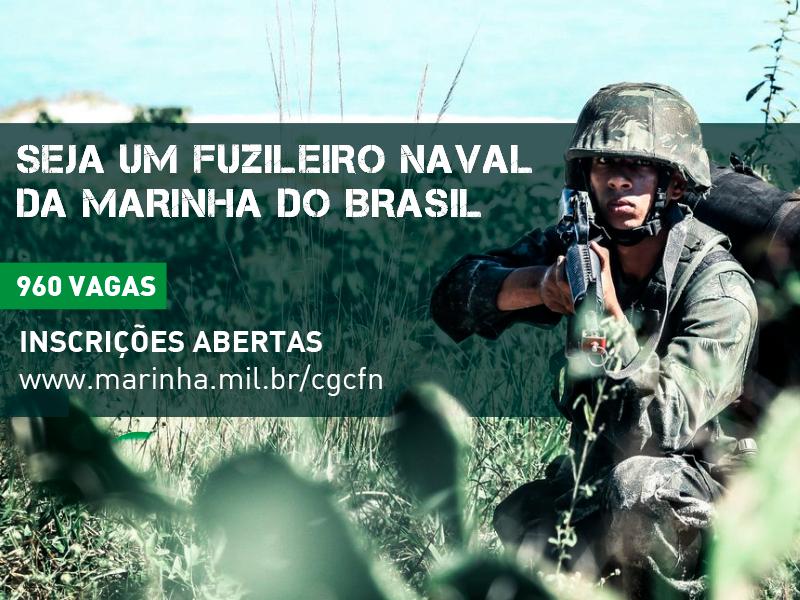 Marinha do Brasil abre 960 vagas de nível médio para Soldados Fuzileiros Navais