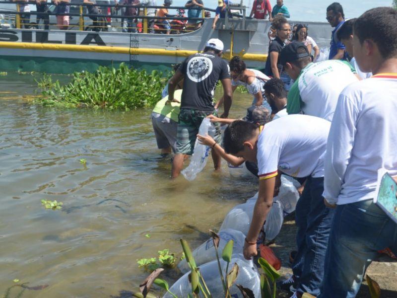 Peixamento, oficina e barco-escola marcam comemoração ao Dia da Água em Penedo