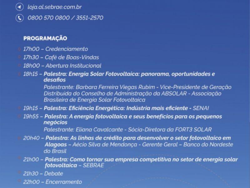 Seminário sobre Energia Solar acontece em Penedo no dia 28 de maio